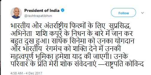 Ramnath Kovind Tweet